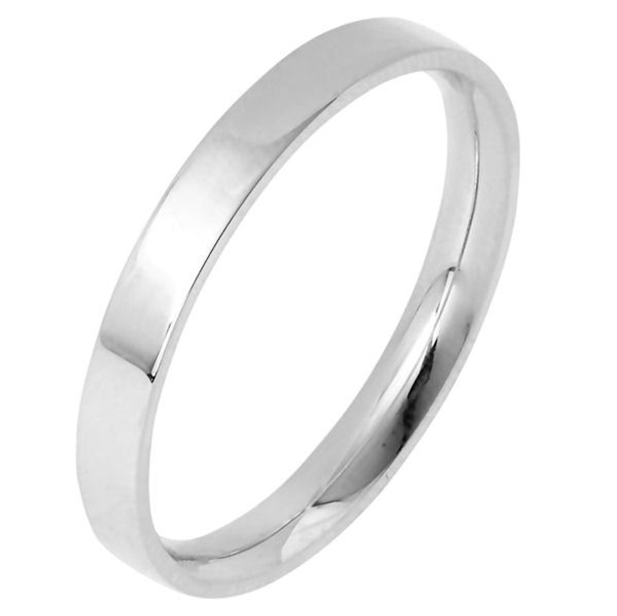 White Gold 3.0 mm Wide Flat Comfort Fit Wedding Band