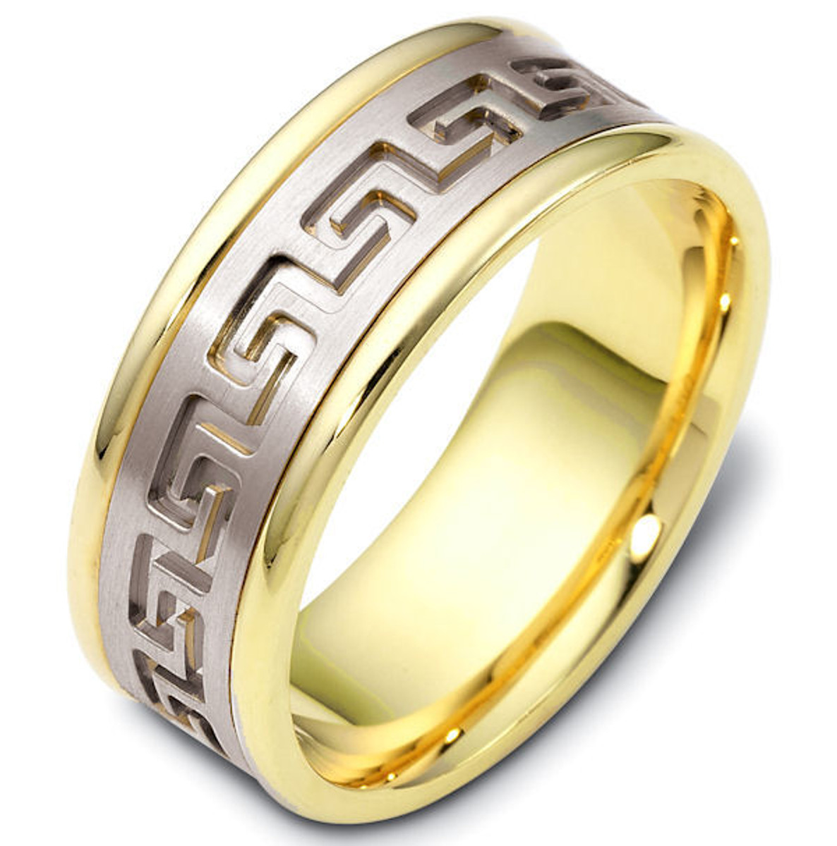 14Kt Two-Tone Greek Key Carved Wedding Band