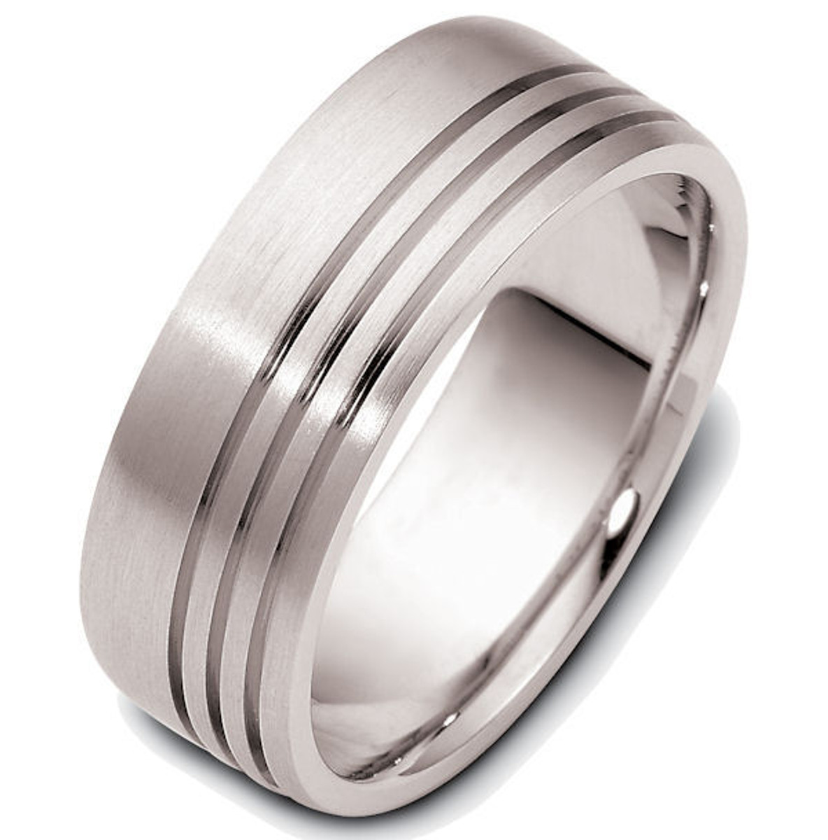 14Kt White Gold Carved Wedding Band