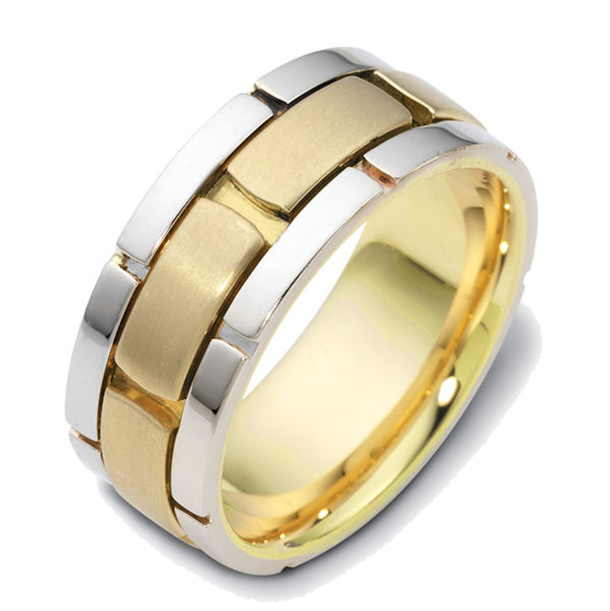 14Kt Two-Tone Brick Wedding Ring