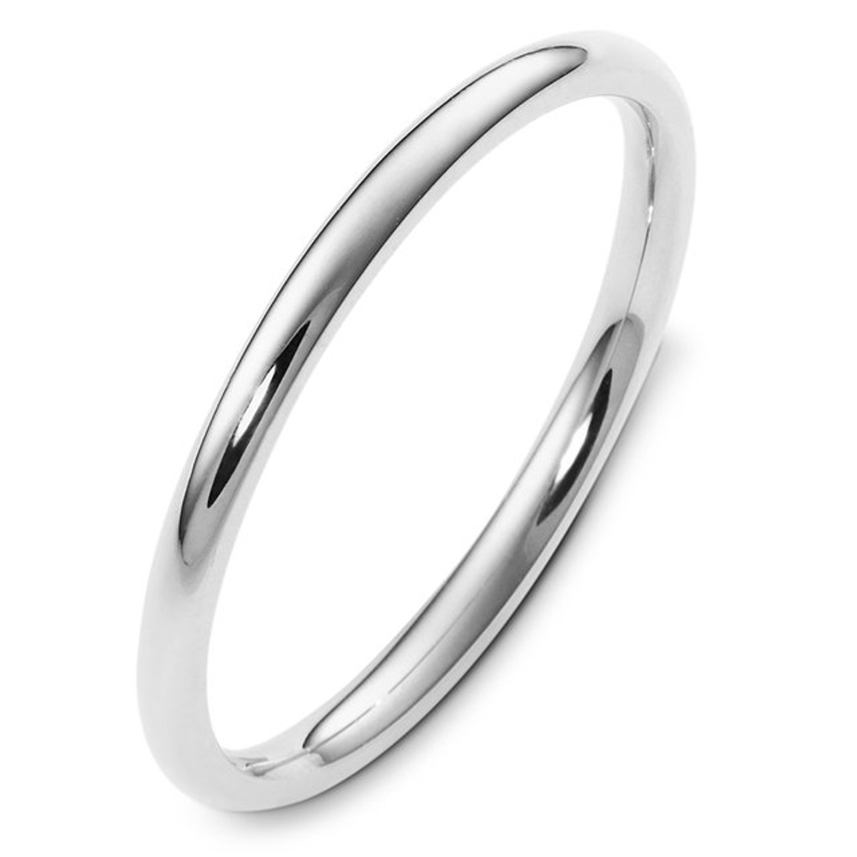 White Gold 2.0 mm Plain Comfort Fit Ring