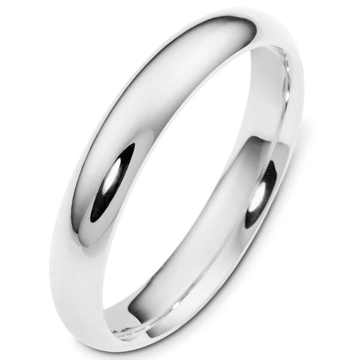 White Gold 4.0 mm Plain Comfort Fit Wedding Ring