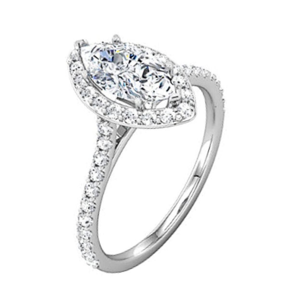 Diamond Halo Marquise Engagement Ring