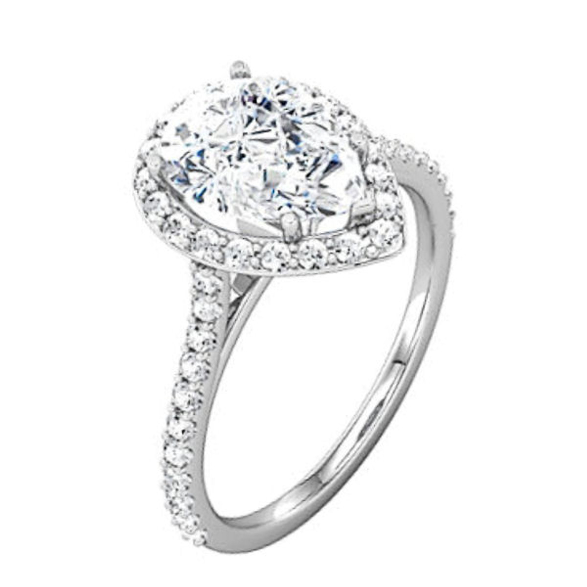 Diamond Pear Shape Halo Engagement Ring