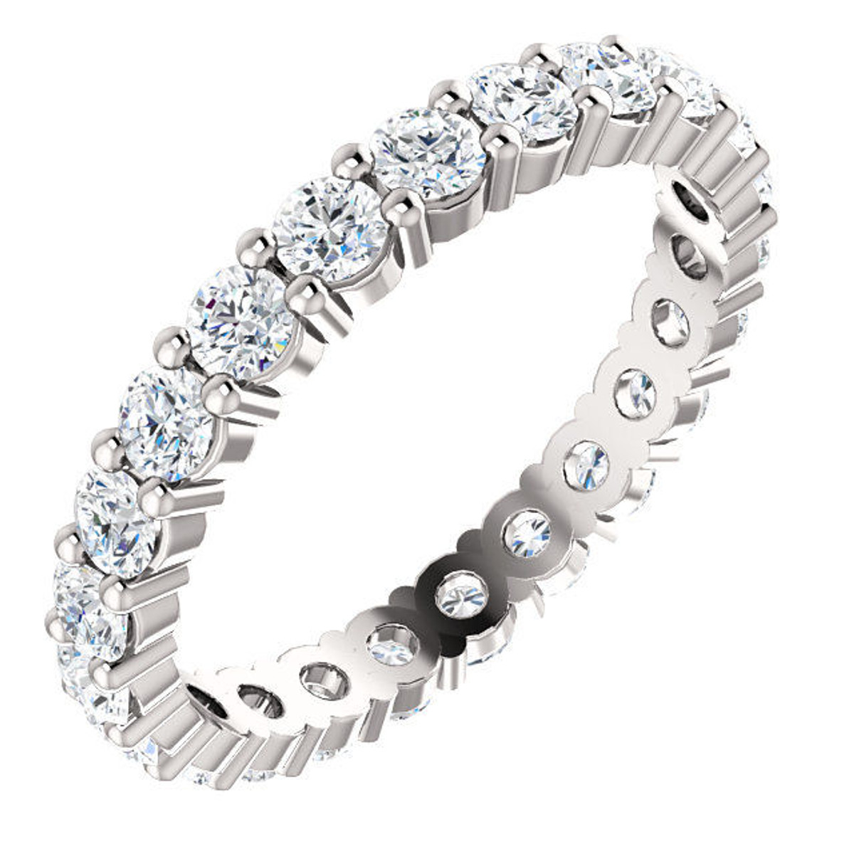 14Kt White Classic Round Diamond Eternity Ring