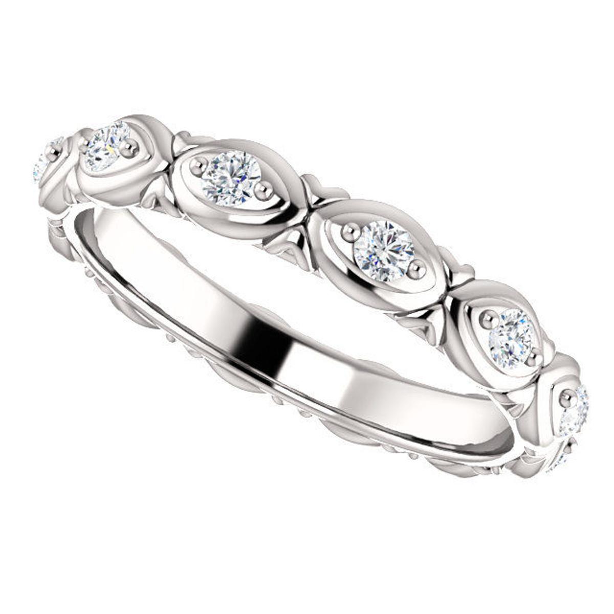 14Kt White Gold Stackable Diamond Eternity Ring