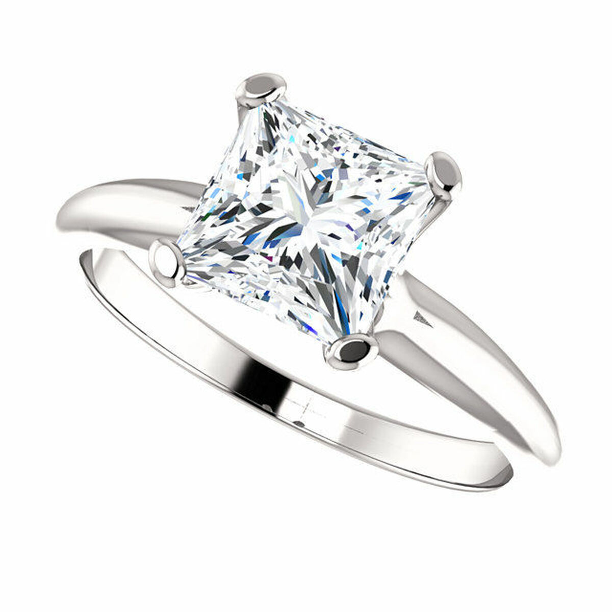 Platinum Princess Cut Solitaire Engagement Ring