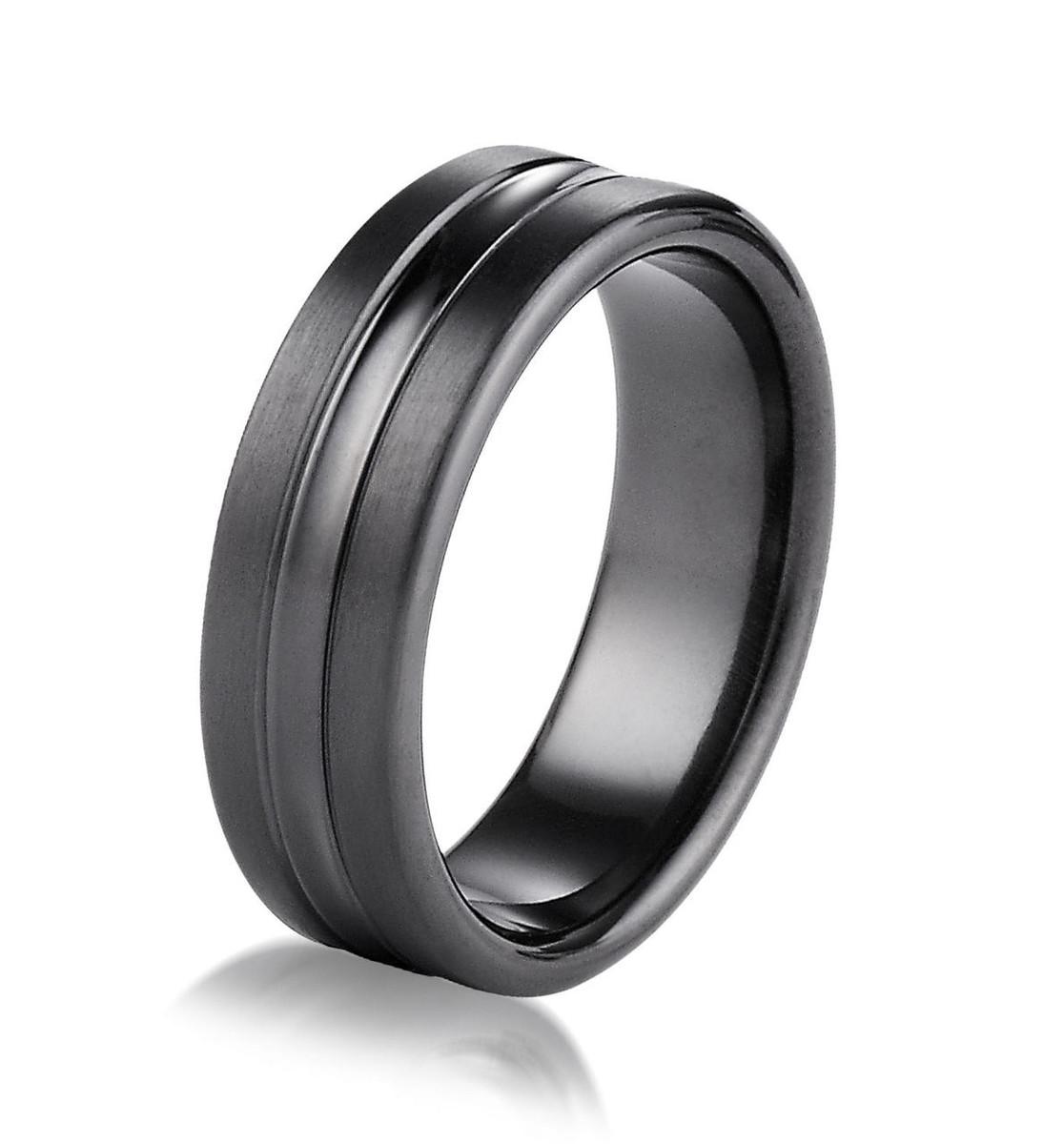 Black Titanium 7.5 MM Wide Wedding Ring
