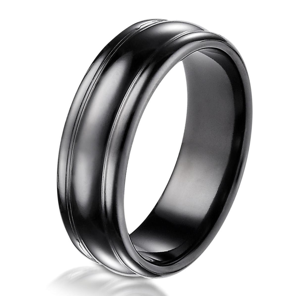Black Titanium Classic 7.5 MM Wide Wedding Ring