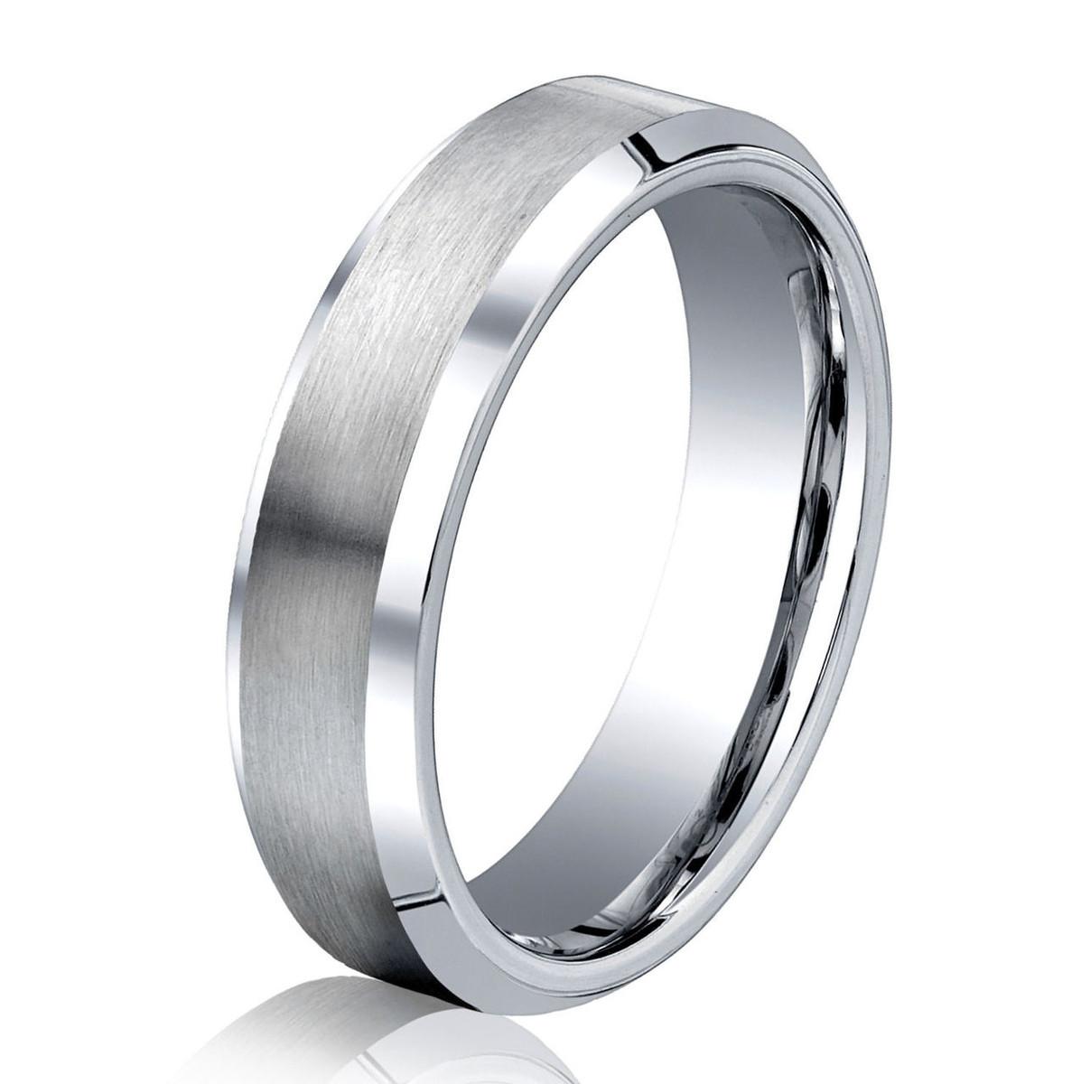 Cobalt Chrome Classic Beveled Wedding Ring