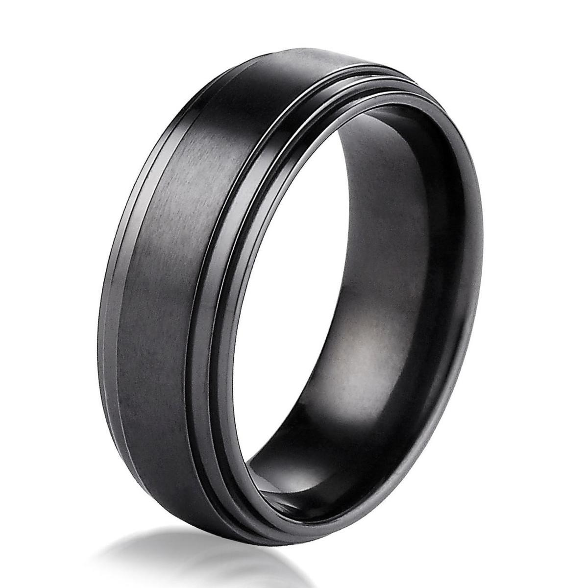 Black Titanium Classic 8.0 MM Wide Wedding Ring