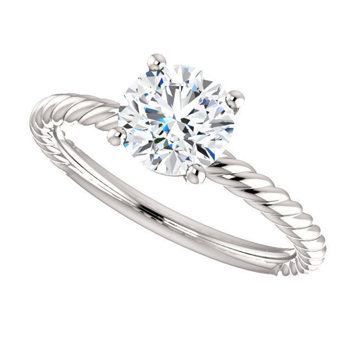 White Gold Rope Engagement Ring