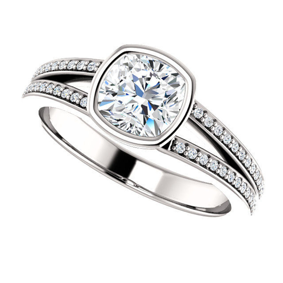 14Kt White Gold Bezel Engagement Ring