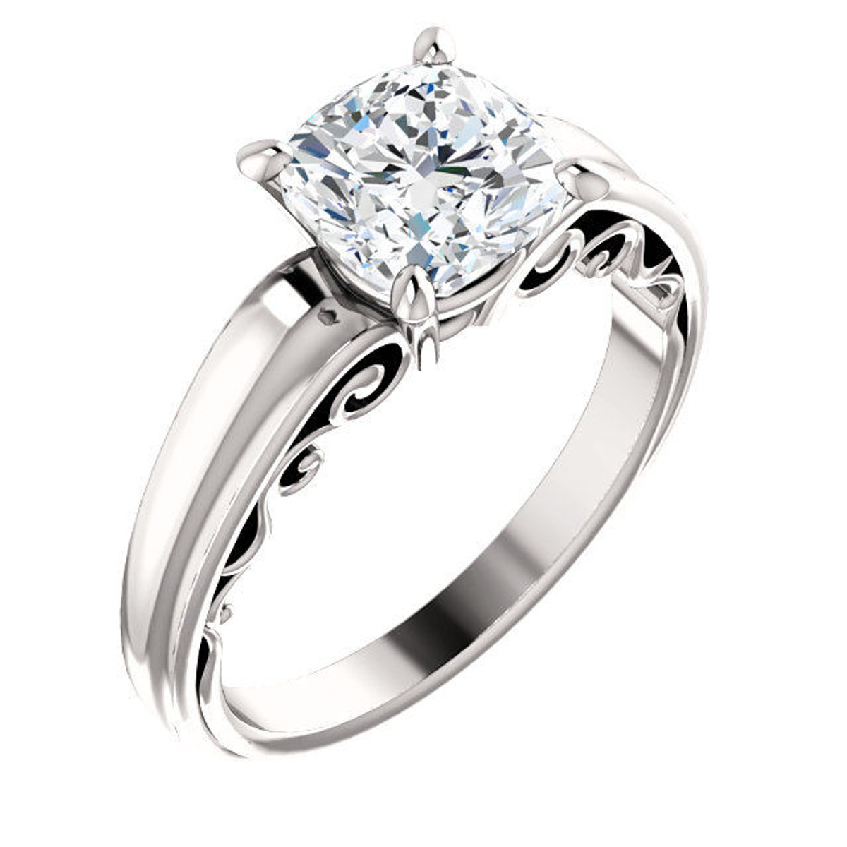14Kt White Gold Cushion Cut Solitaire Engagement Ring