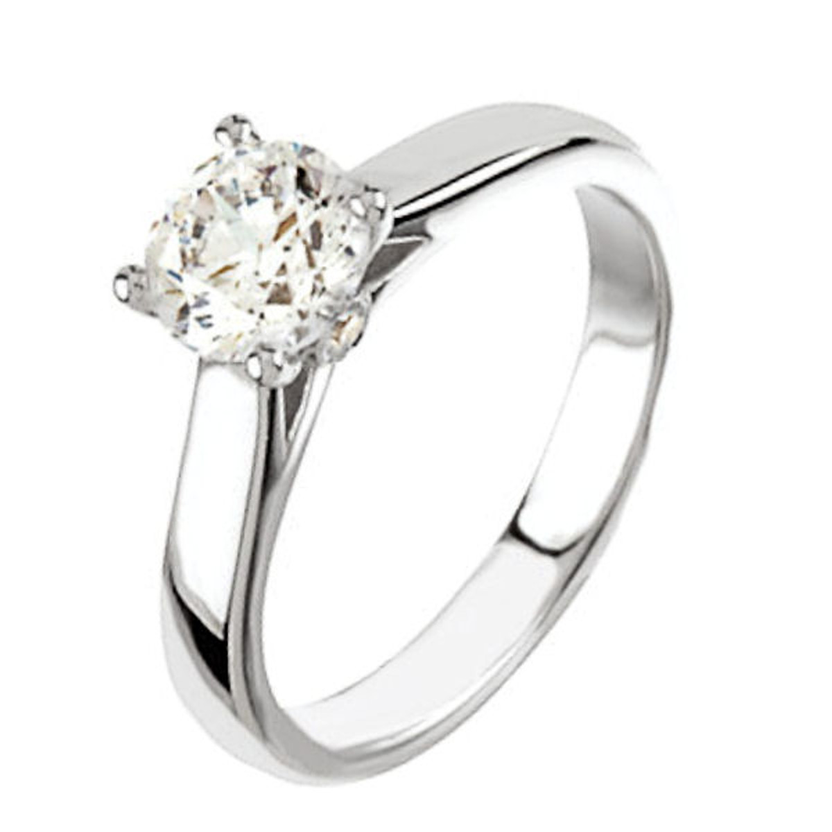 Round Cut Cathedral Solitaire Engagement Ring