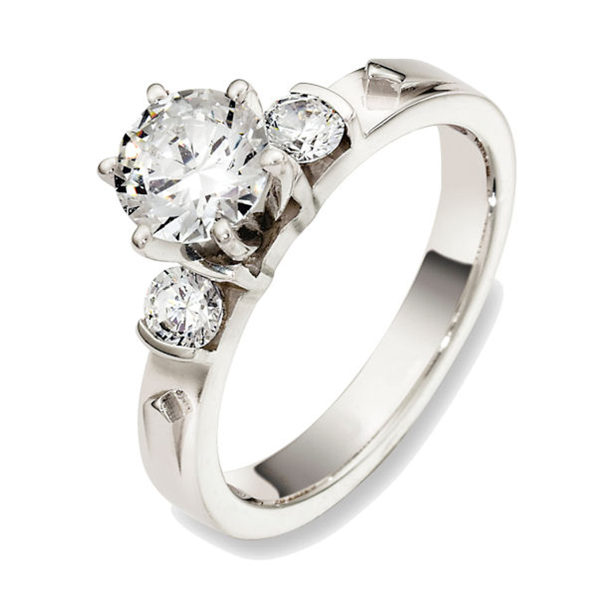 18Kt White Gold Three-Stone Diamond Engagement Ring
