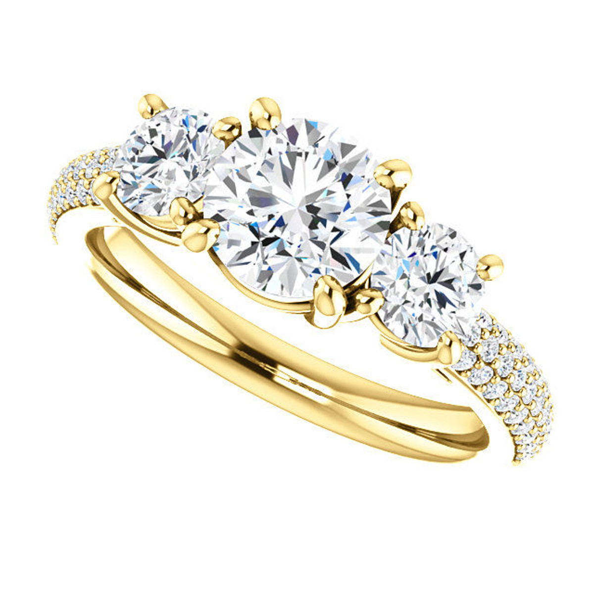Yellow Gold Three Stone Engagement Ring