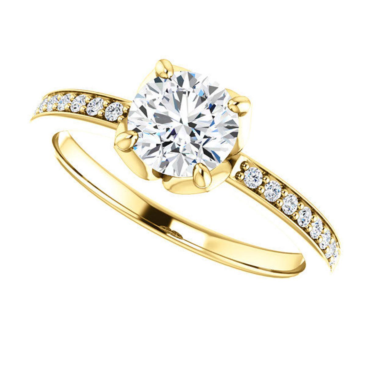 Yellow Gold Tulip Engagement Ring