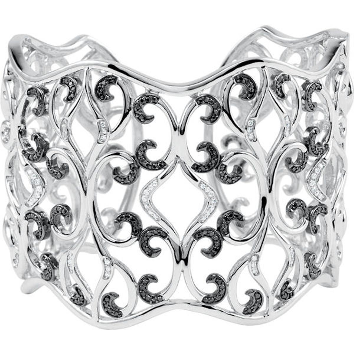 Sterling Silver Black & White Diamond Cuff Bracelet