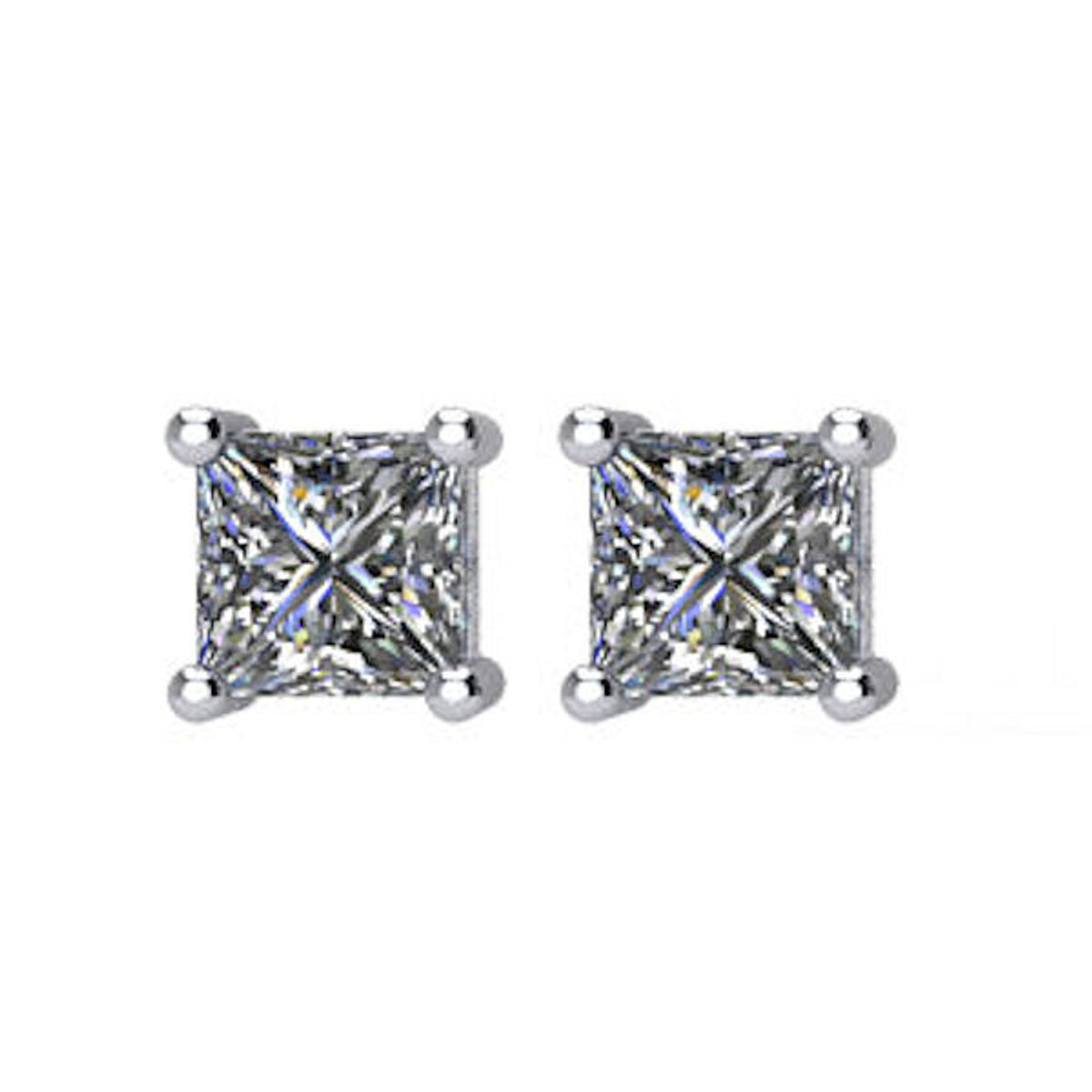 1/4 CT TW Princess Cut Diamond Stud Earrings