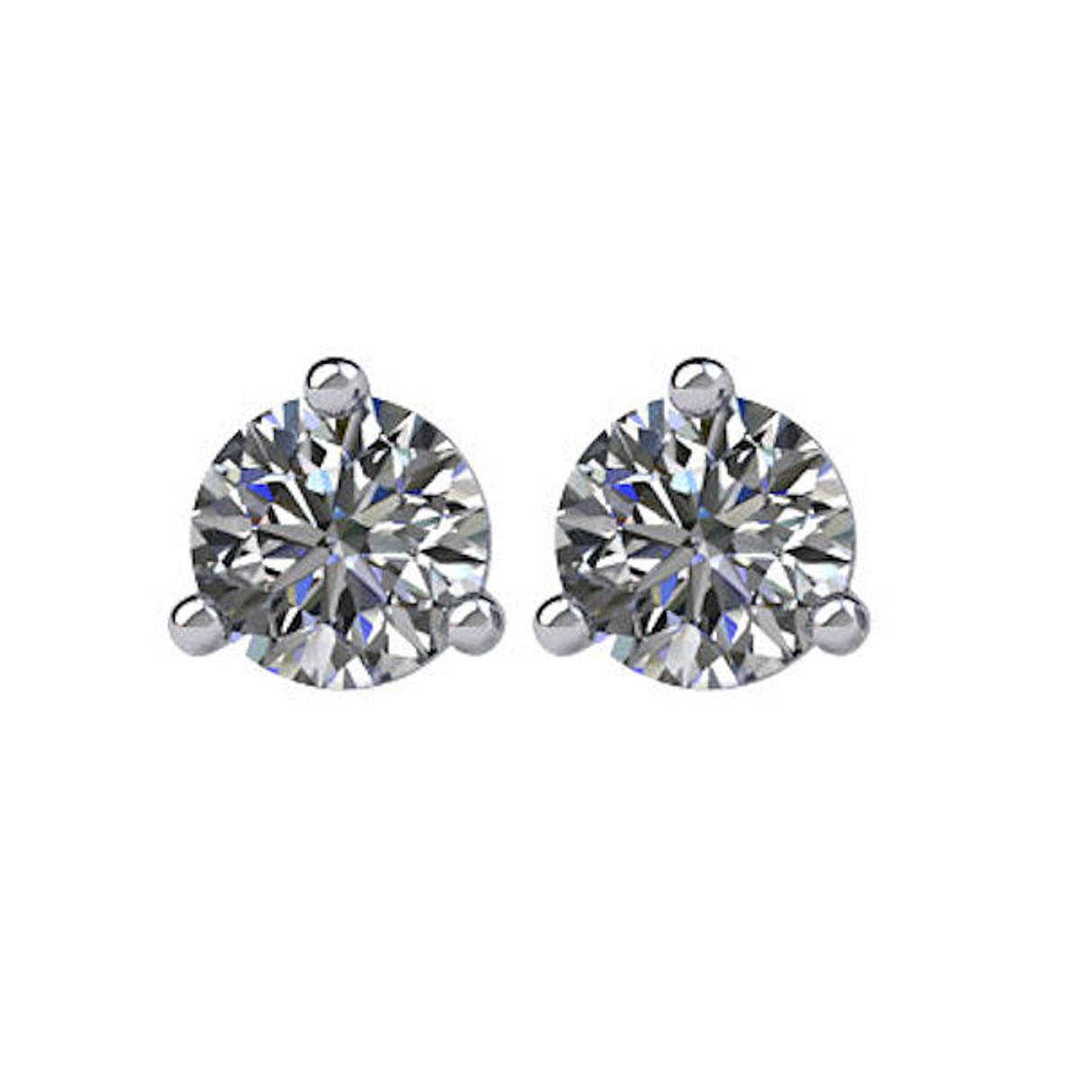 3-Prong Cocktail Round 1/4 CT TW Stud Earrings