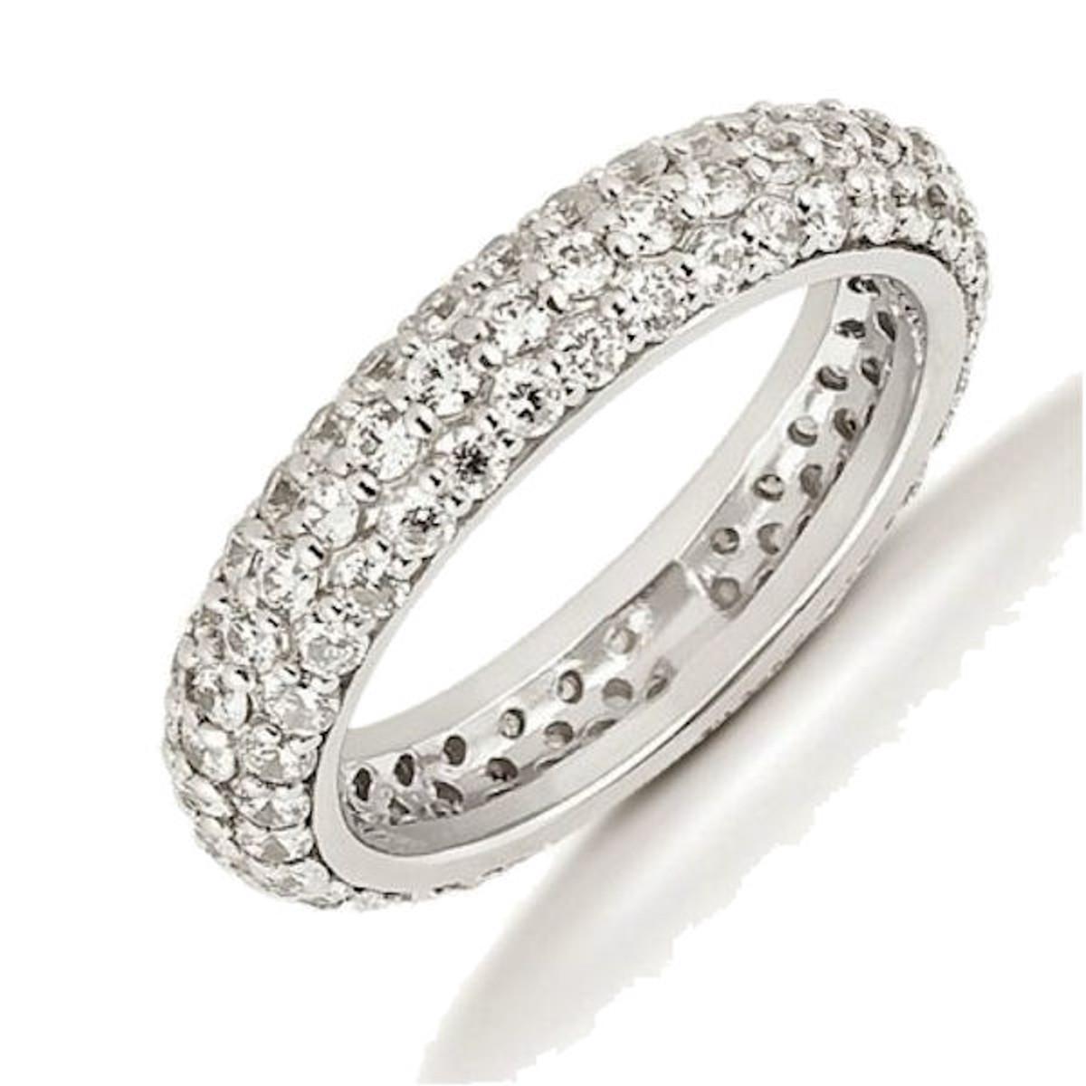 Platinum 3-row 1.70 ct tw Diamond Eternity Ring