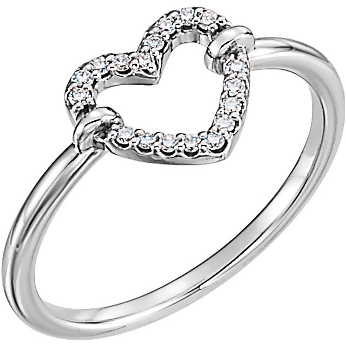 White Gold Petite Diamond Heart Ring