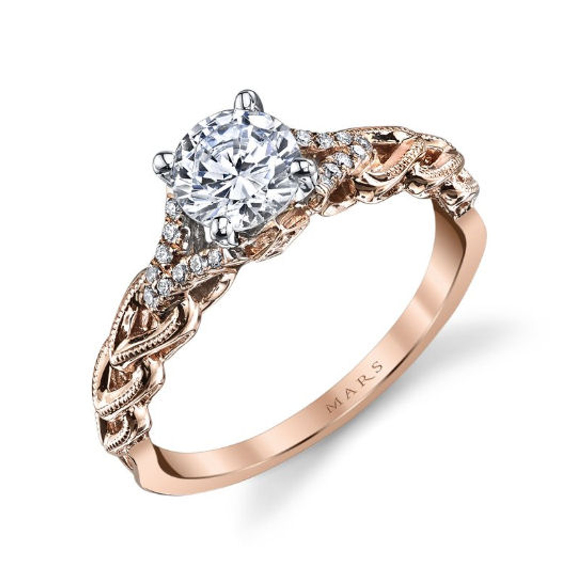 Braided Interwoven Diamond Engagement Ring