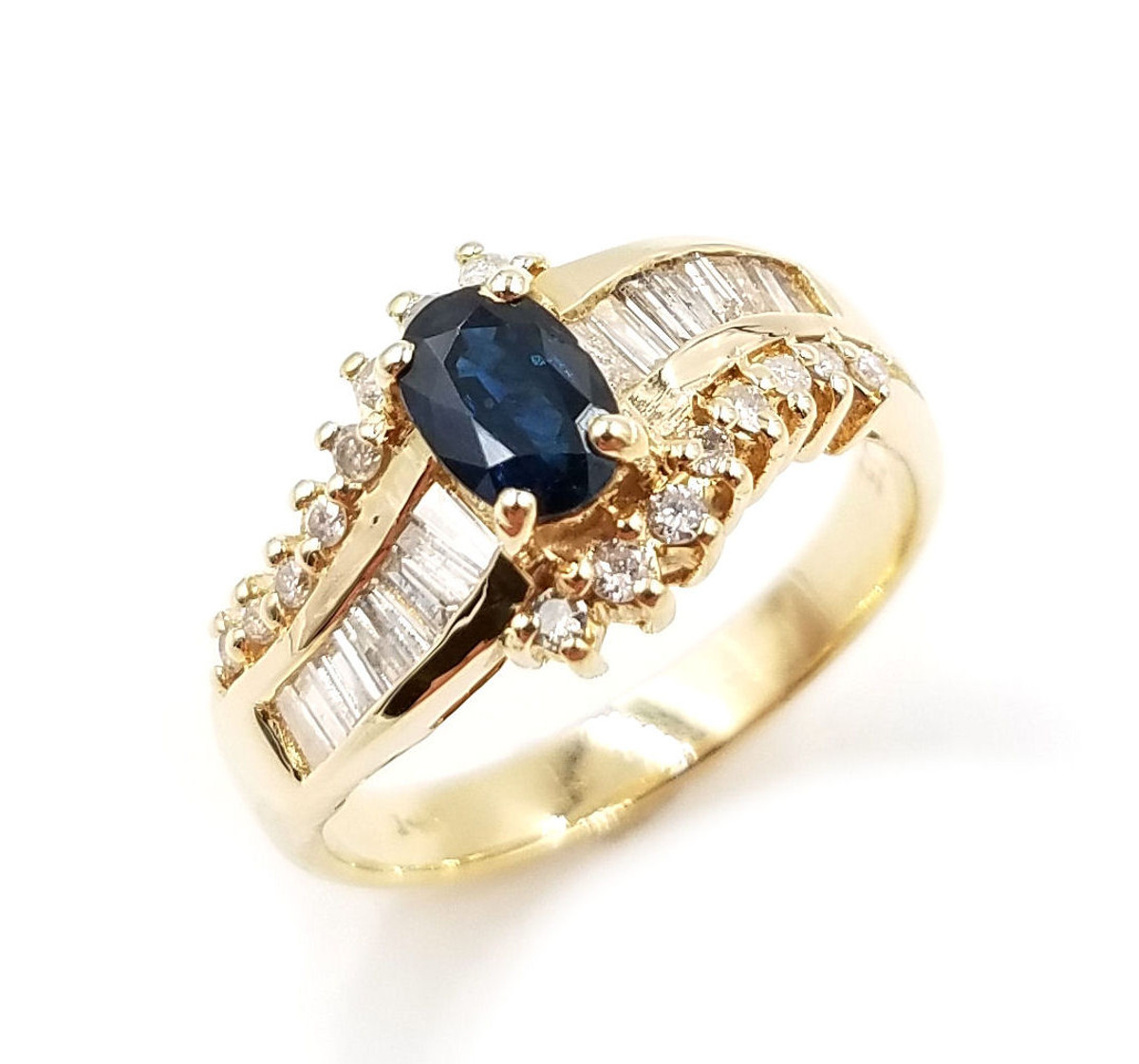 Diamond & Oval Genuine Blue Sapphire Ring