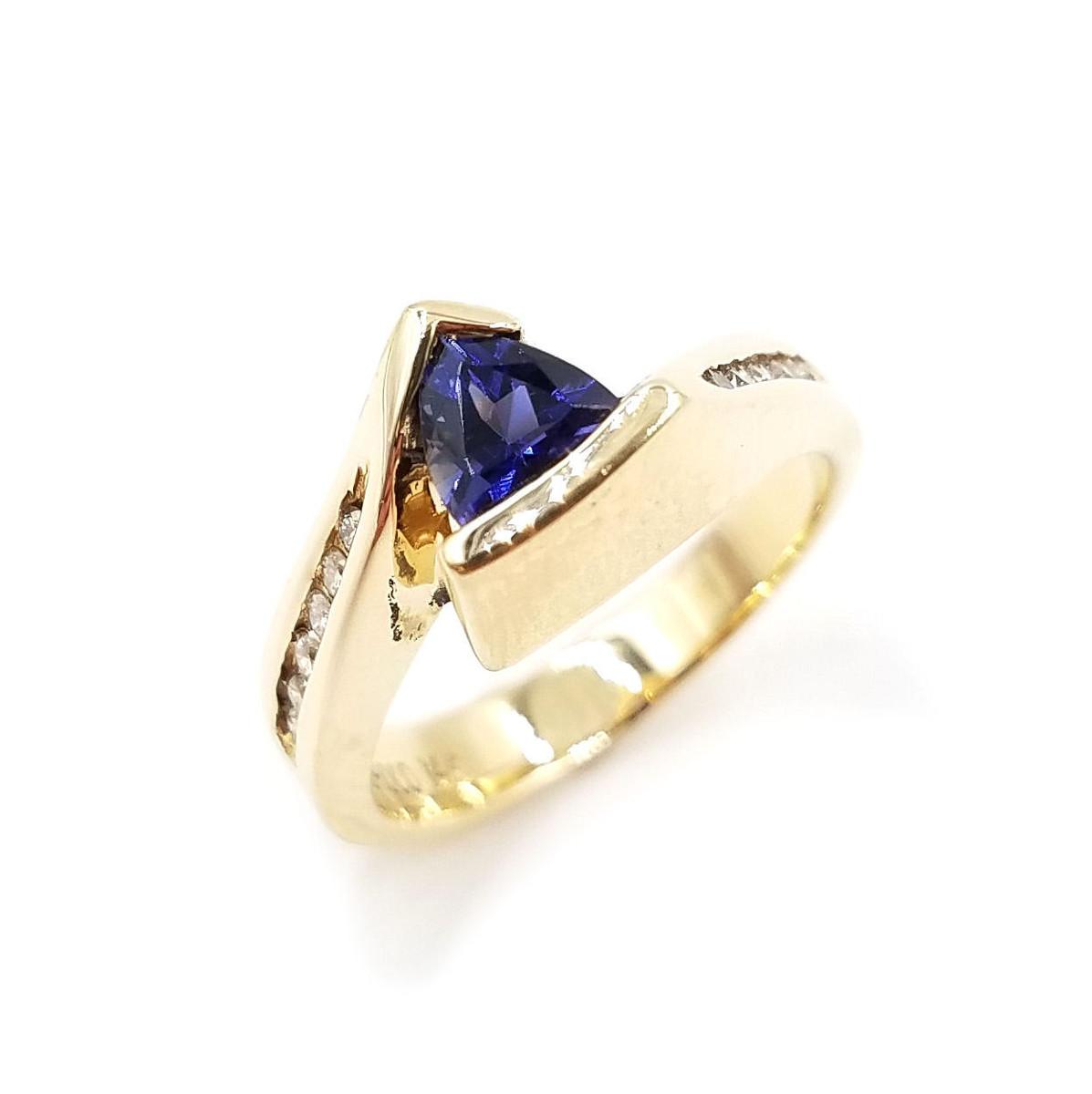 Trillion Cut Genuine Tanzanite & Diamond Ring
