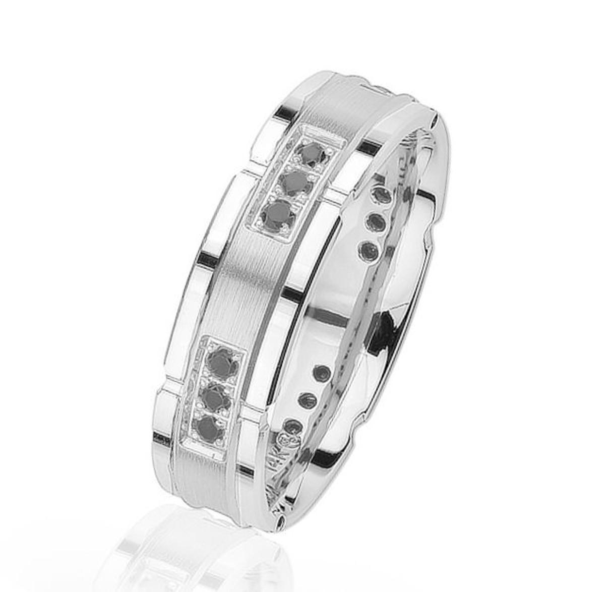Black Diamond, White Gold Wedding Ring