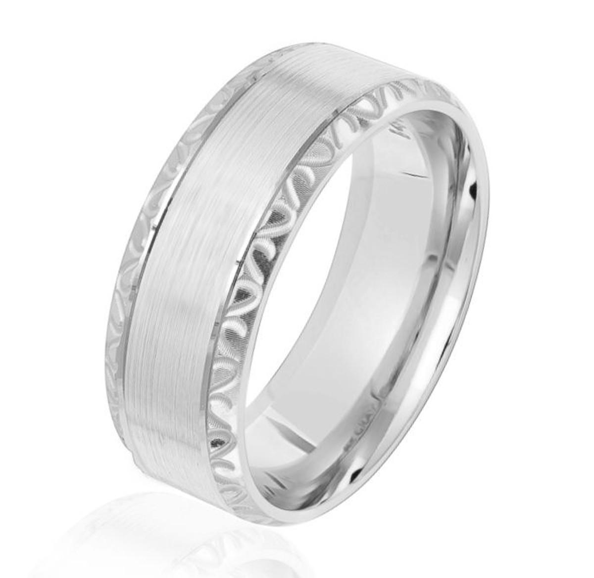 White Gold Beveled Wedding Ring