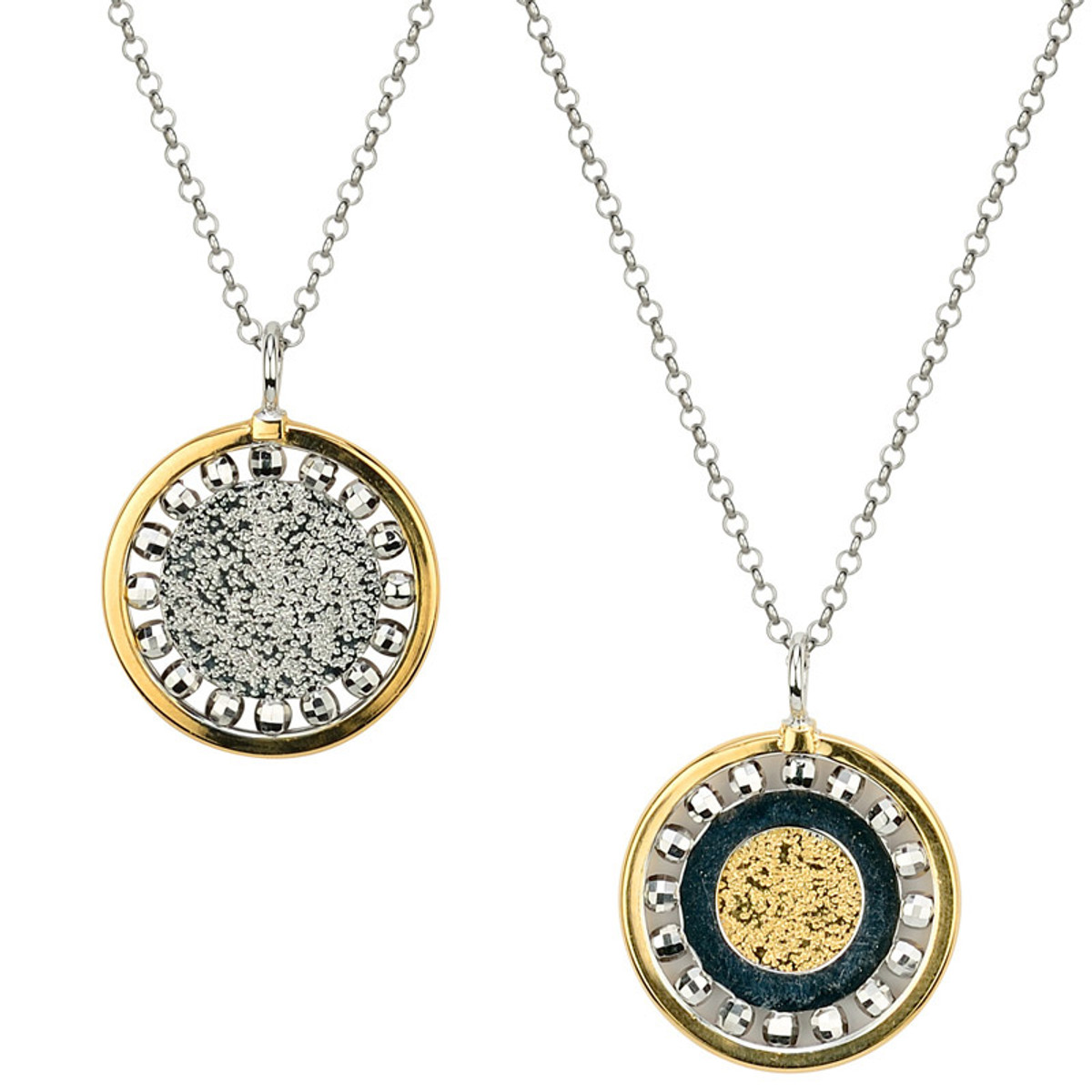 Sterling Silver Gold Overlay Reversible Necklace, Frederic Duclos