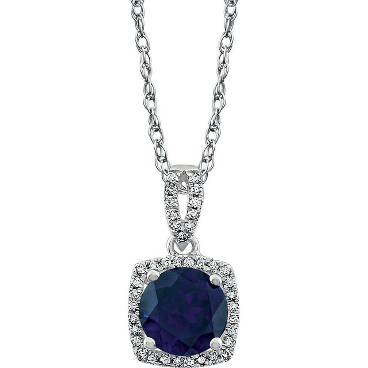 Created blue sapphire & diamond halo pendant