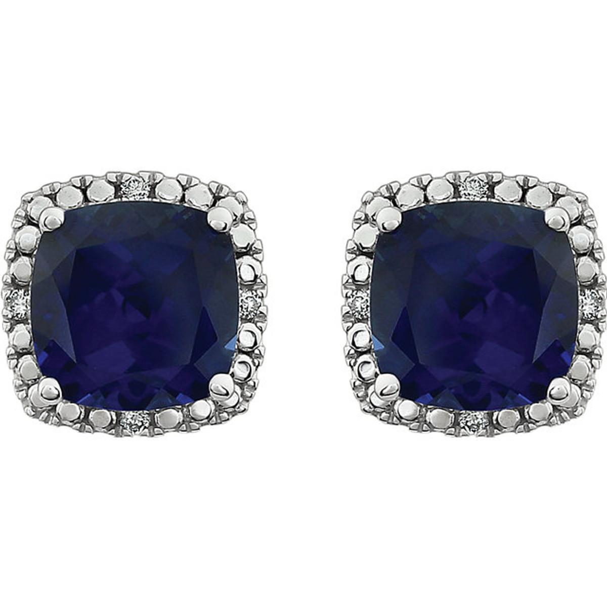 Created blue sapphire & diamond earrings