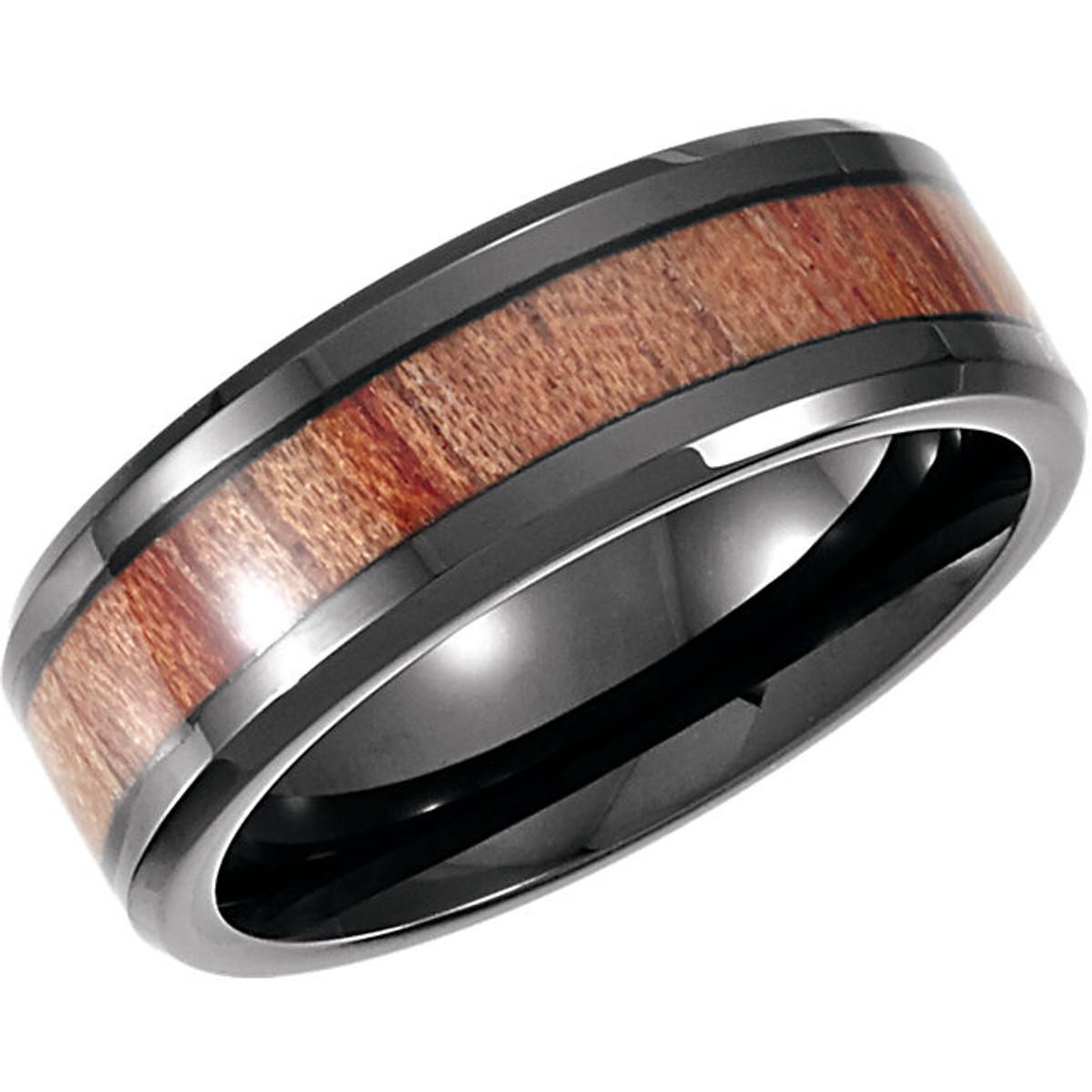 Rosewood Inlay Cobalt Ring