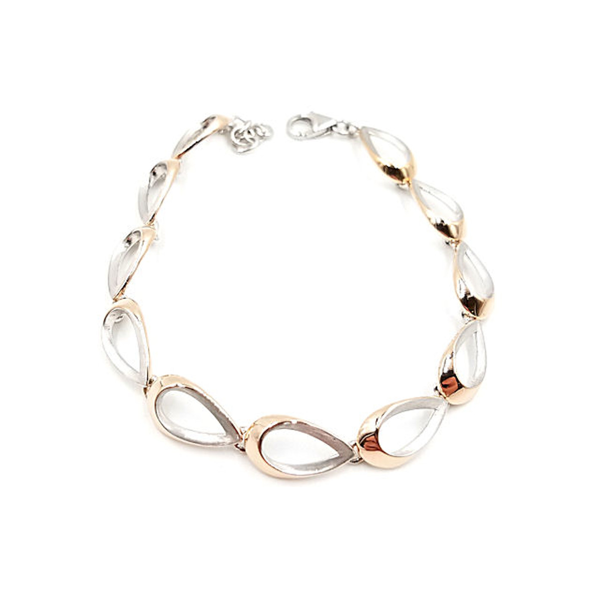 Silver & rose gold over silver bracelet
