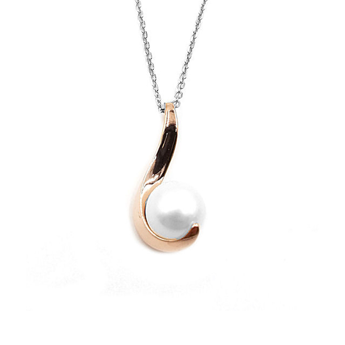 Rose Gold Over Silver Pearl Pendant