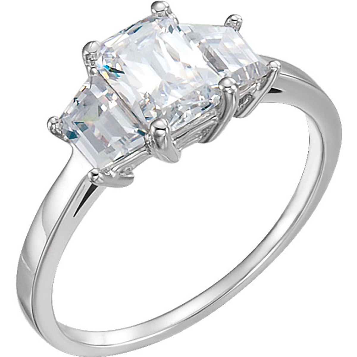 Three Stone Trapezoid Emerald Cut Ring Princess Jewelry