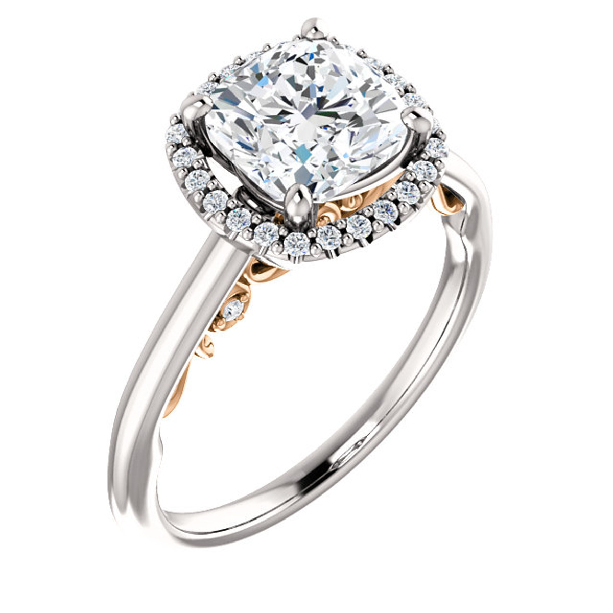 White & Rose Gold Engagement Ring