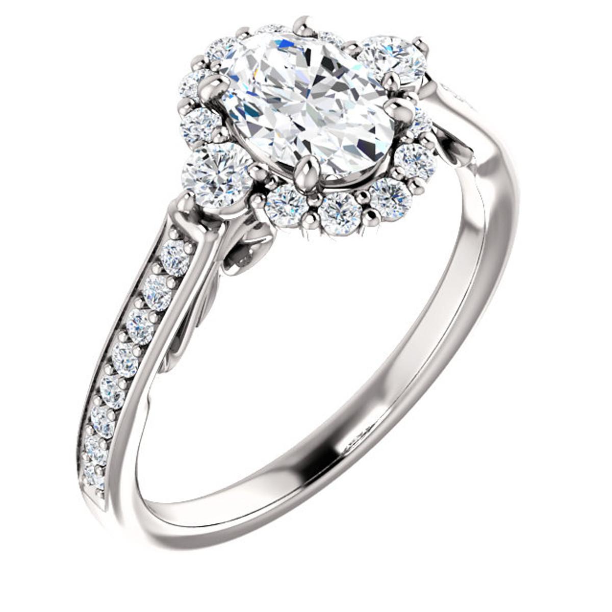 Diamond Oval Halo Engagement Ring