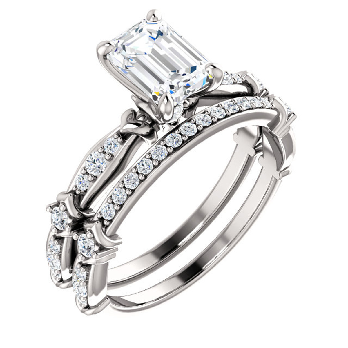 Emerald Cut Diamond Bridal Set