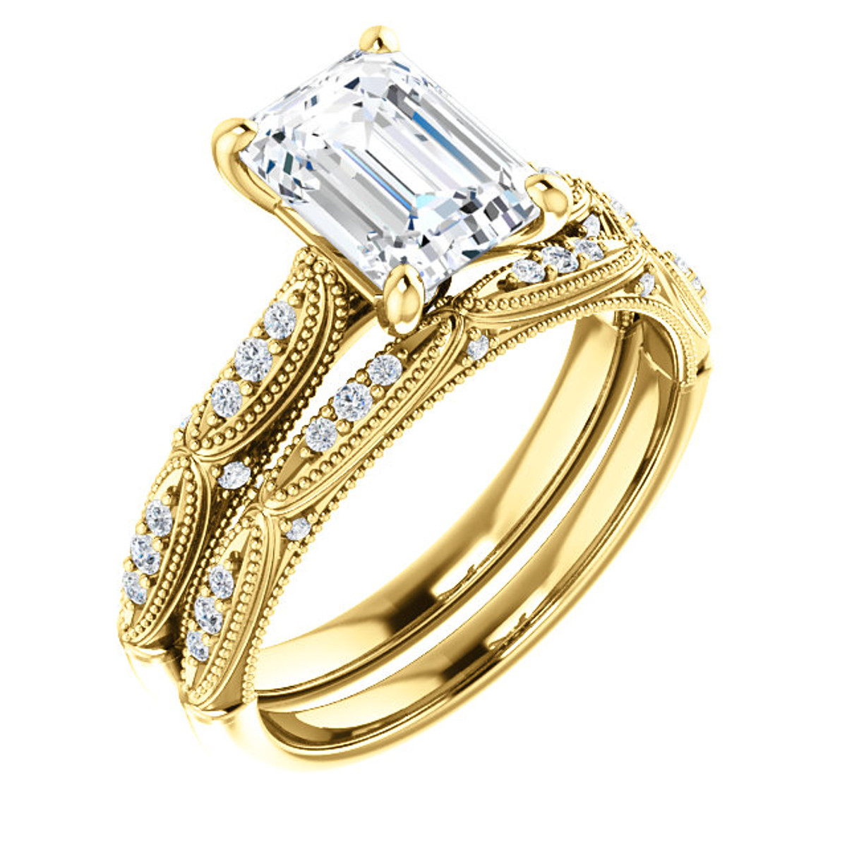 Emerald Cut Vintage Diamond Bridal Set