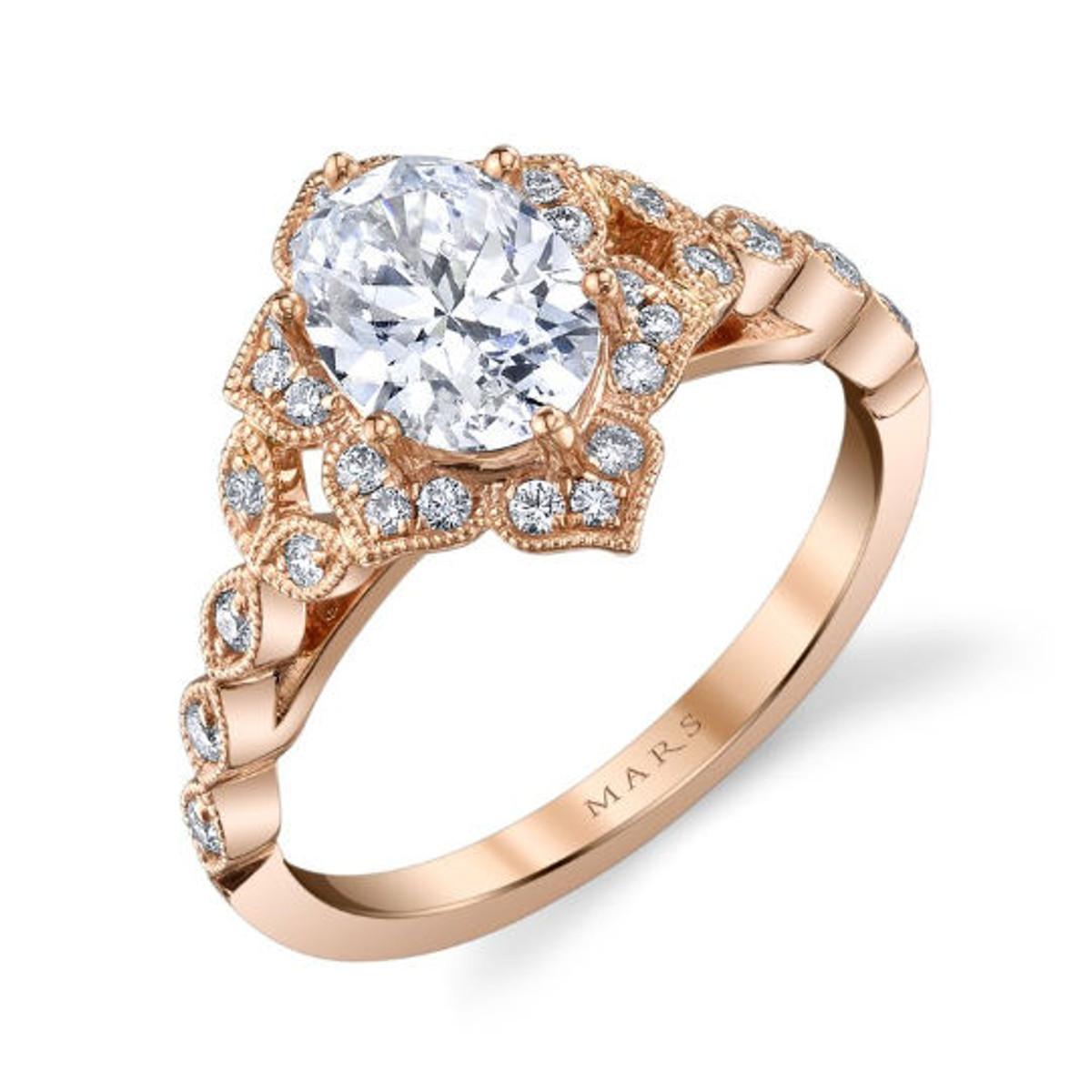 Rose Gold Floral Engagement Ring