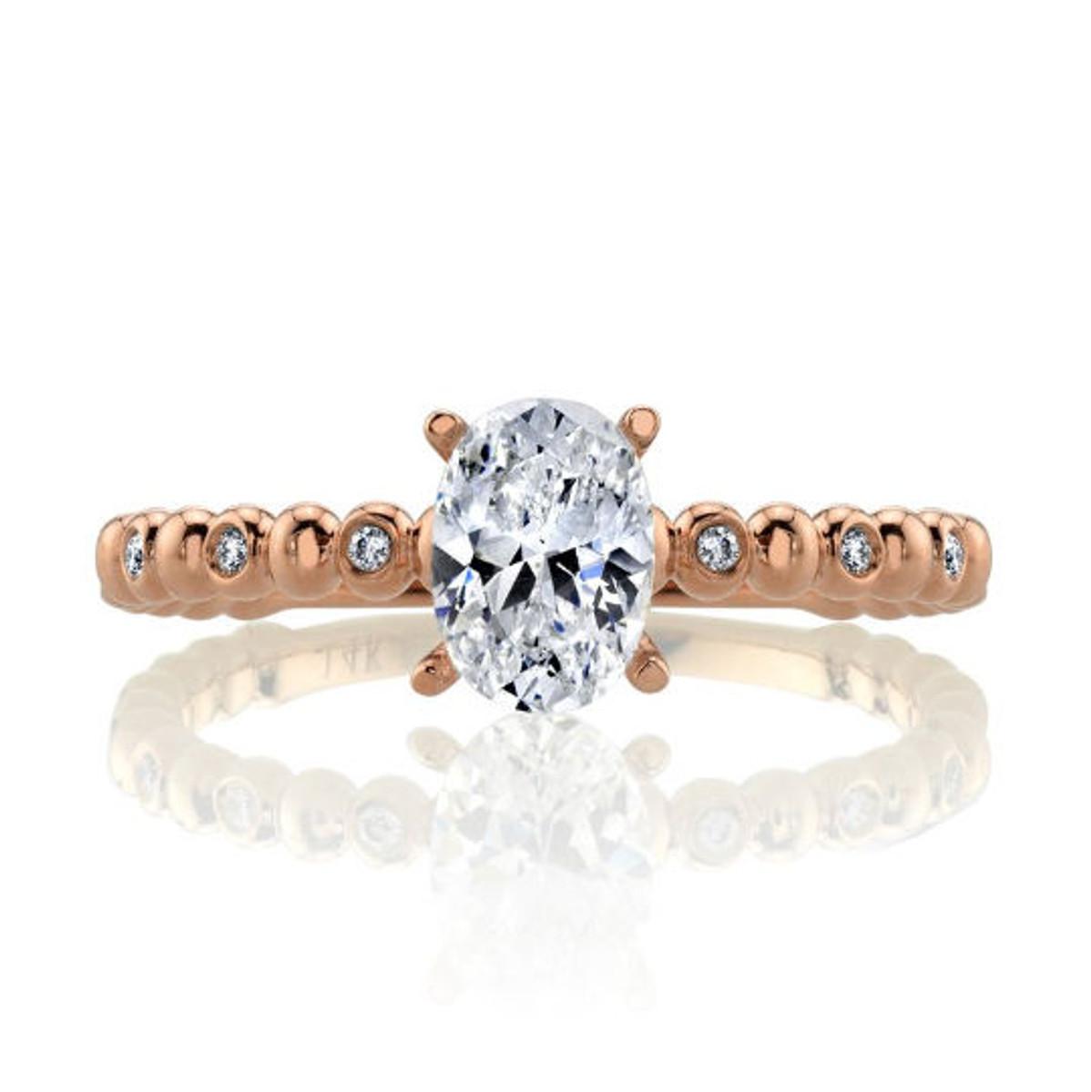 Rose Gold Beaded Diamond Engagement Ring