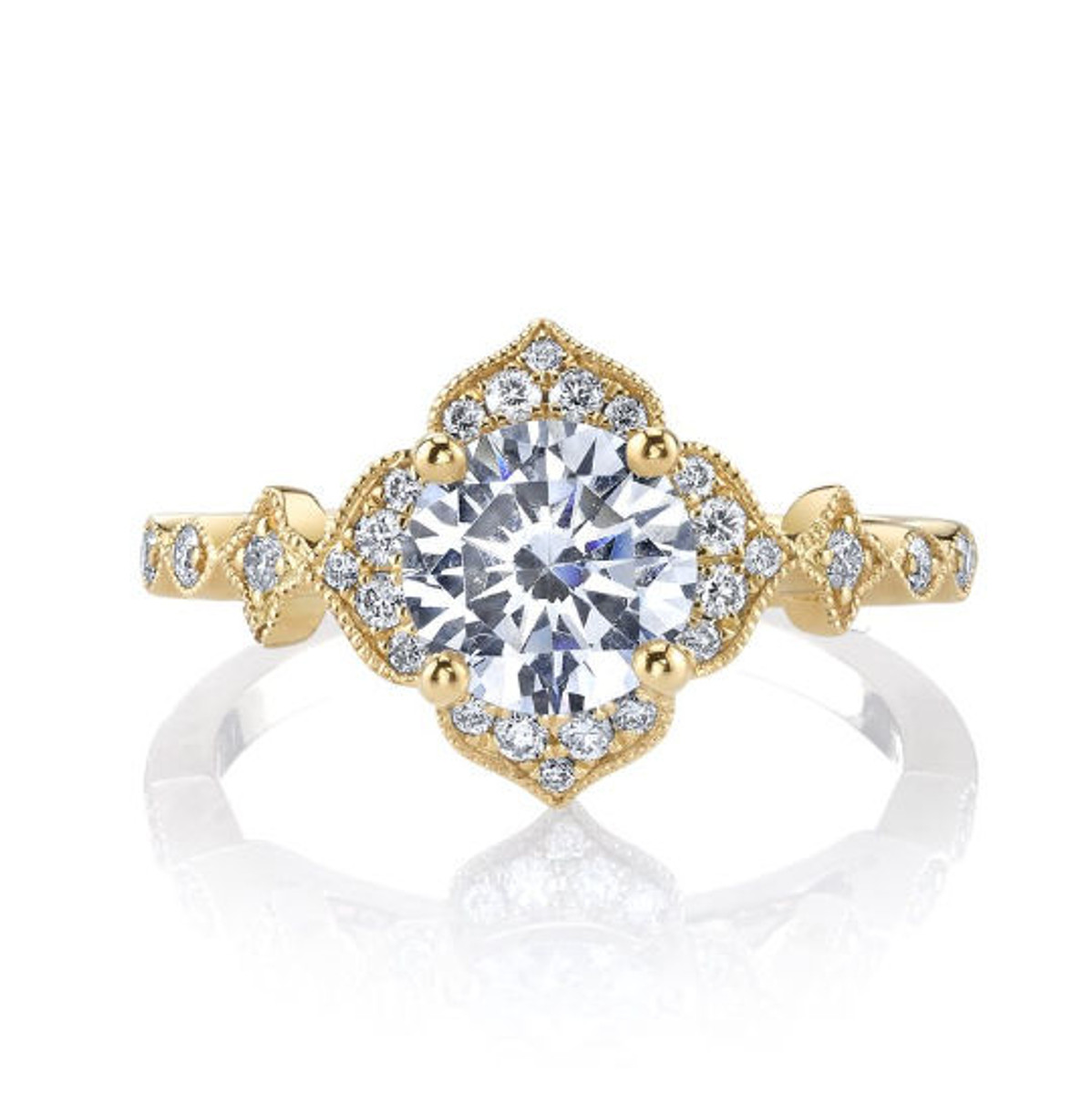 Yellow Gold Floral Vintage Halo Ring