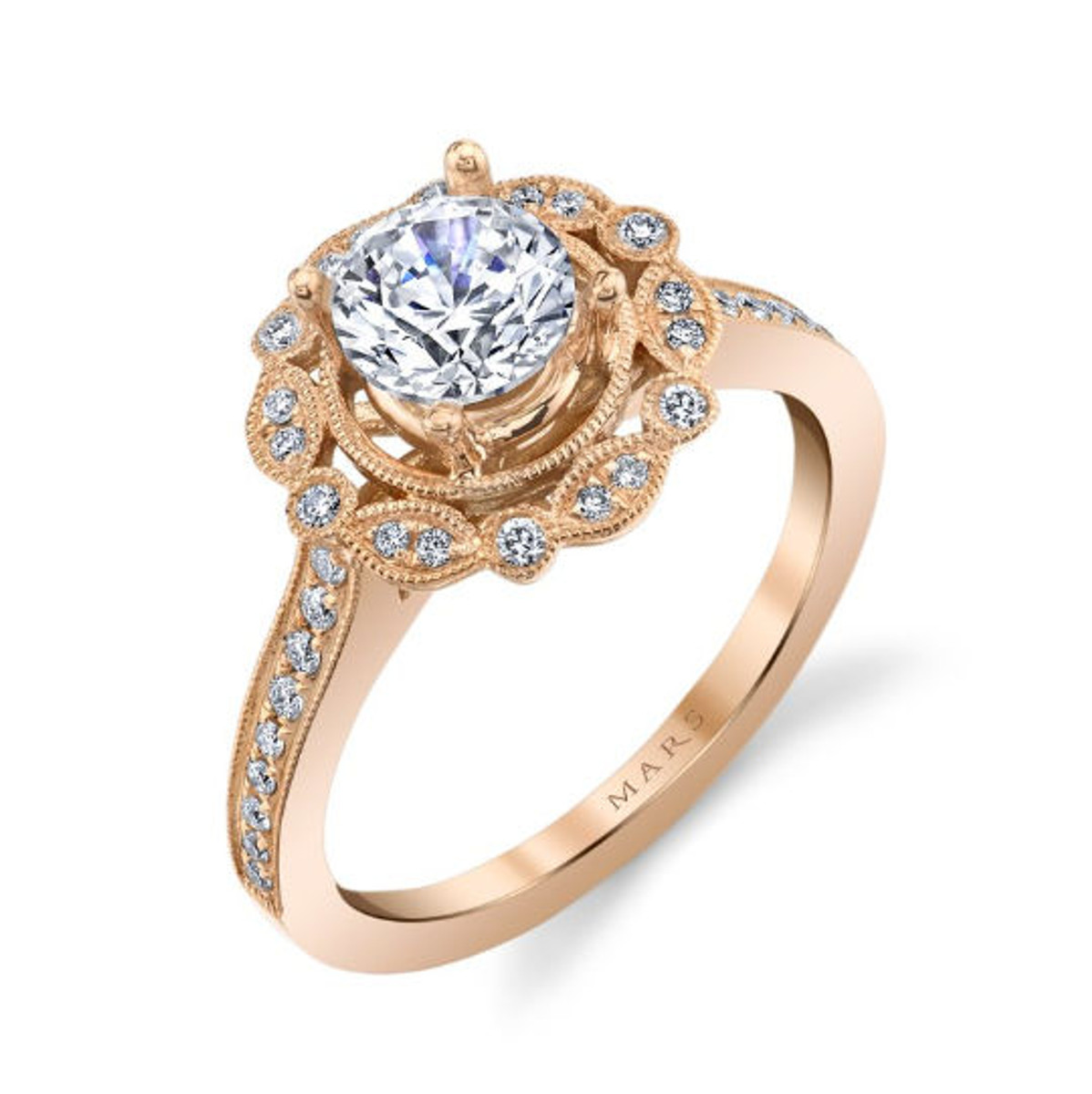 Rose Gold Floral Halo Diamond Ring