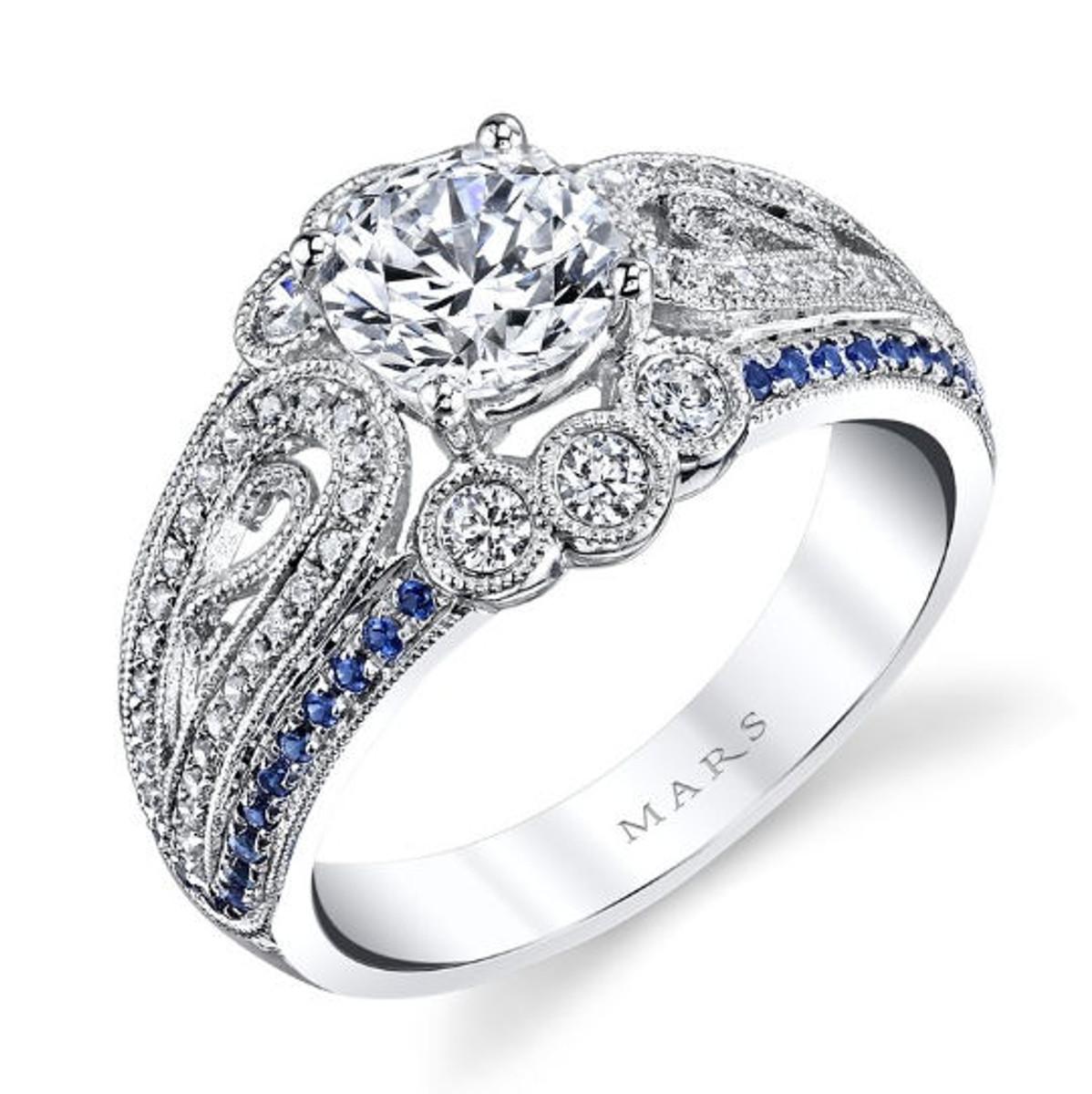 Vintage Diamond & Sapphire Engagement Ring