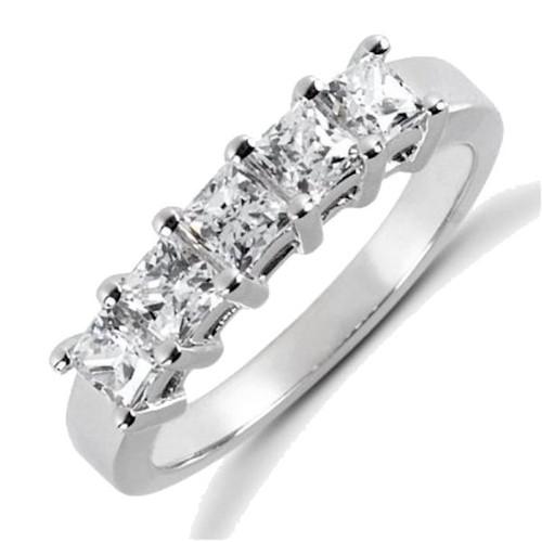 0.85 Ct TW 5 stone princess cut anniversary ring