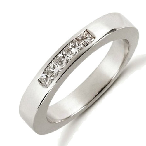 White Gold Princess Cut Diamond Anniversary Ring